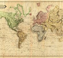 Vintage Map of The World (1831)  by BravuraMedia