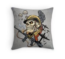 Airborne, Military Skull Smoking a fat Cigar while Bombs are Falling Throw Pillow