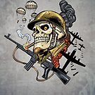 Airborne, Military Skull Smoking a fat Cigar while Bombs are Falling by alrioart