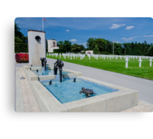 Water Feature in American War Cemetery, Luxembourg Canvas Print