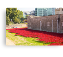 Ceramic poppies at the Tower of London Canvas Print
