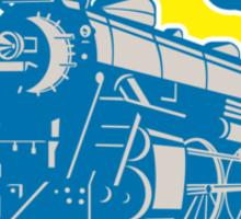 Steam Train Locomotive Circle Retro Sticker