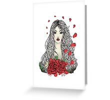 Flying rose petals Greeting Card