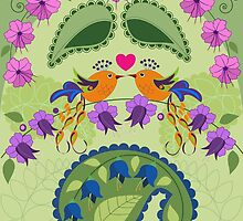 Love birds, flowers ad Paisley leaves by walstraasart