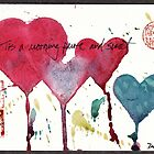 """Tis a Morning Pure and Sweet""  watercolor valentine hearts painting by Rebecca Rees"