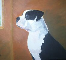 Pit Bull on watch by Karen Wilson