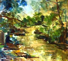 Gone Fishing, King Parrot Creek, Strath Creek Victoria Australia by Margaret Morgan (Watkins)