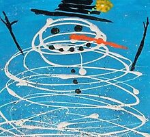 Mr. Sparkles the Snowman whimsical Christmas folk art by art-by-micki