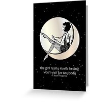 Gatsby Girl swinging on the Moon with F Scott Fitzgerald Quote Greeting Card