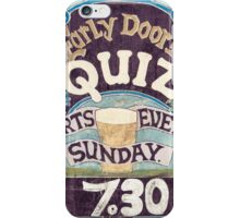 Close up on colorful British pub quiz sign iPhone Case/Skin