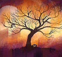 Halloween tree silhouette - digital design by Thubakabra