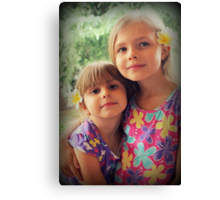 Summer Girls. Frangipanis On Their Hair Canvas Print