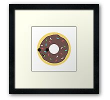 Cute Chocolate Glazed donut with sprinkles Framed Print