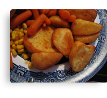 Roast Potatoes with Carrots and Sweet Corn Canvas Print