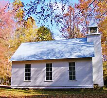 LITTLE COUNTRY CHAPEL & COLORFUL FALL FOLIAGE by CHERIE COKELEY