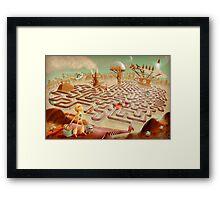 robot city maze Framed Print