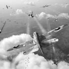 Headlong attack (Hurricanes over Weymouth) black and white version by Gary Eason + Flight Artworks
