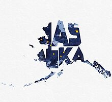 Alaska Typographic Map Flag by A. TW