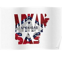 Arkansas Typographic Map Flag Poster
