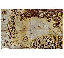 Old folded map of Alagaësia Photographic Print