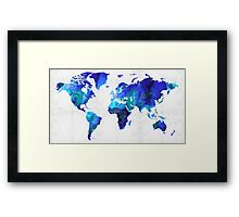 World Map 17 - Blue Art By Sharon Cummings Framed Print