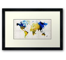 World Map 16 - Yellow And Blue Art By Sharon Cummings Framed Print