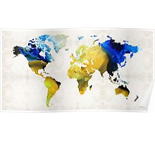 World Map 16 - Yellow And Blue Art By Sharon Cummings Poster