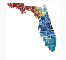 Florida - Map By Counties Sharon Cummings Art Kids Clothes
