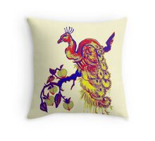 Peacock in a Peach Tree (Remix) Throw Pillow
