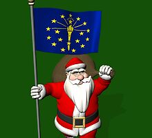 Santa Claus With Flag Of Indiana by Mythos57