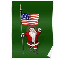 Santa Claus With Flag Of The USA Poster