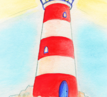 Lighthouse whimsical watercolor art  Sticker
