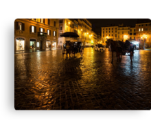 Golden Glow - Night on the Spanish Steps Piazza in Rome, Italy Canvas Print