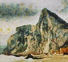 A digital impressionist painting of Gibraltar - the North Face by Dennis Melling