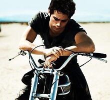 Dylan O'Brien on a Motorcycle by Christopher Stites