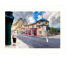 Shopping on Pulteney Bridge - Bath, England Art Print