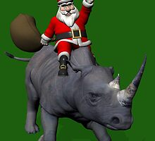 Santa Claus Riding On Rhinoceros by Mythos57