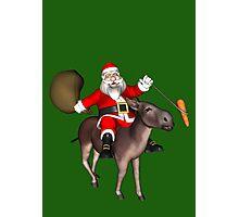 Santa Claus Riding A Donkey Photographic Print