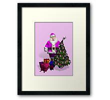 Santa Claus Dressed In Pink Framed Print