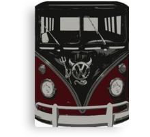Maroon Camper Van With Emblem Art Canvas Print