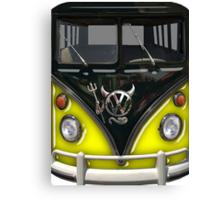 Yellow Camper Van With Devil Emblem Canvas Print