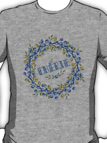 Watercolor Blue berris  branches wreath T-Shirt