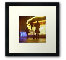 People walking in street at night with fairground lights in Hasselblad vintage camera analogue film photo Framed Print