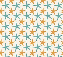 Teal and Orange Starfish - Sand - Beach - Ocean - Nautical by PatternPrint