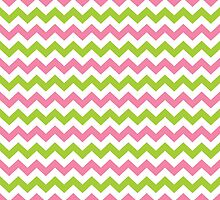 Pink and Lime Green Chevron by PatternPrint