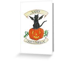 """Pirate-Bat-Cat"" Greeting Card"