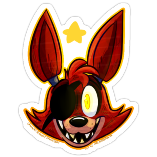 Fnaf foxy headshot quot stickers by orlandofox redbubble