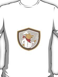 Pig Chef Cook Holding Spatula Shield Cartoon T-Shirt