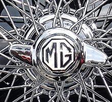 Vintage MG wheel art by Tony Swinton