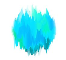 Abstract Painted Blue and Green Form on White Background Photographic Print